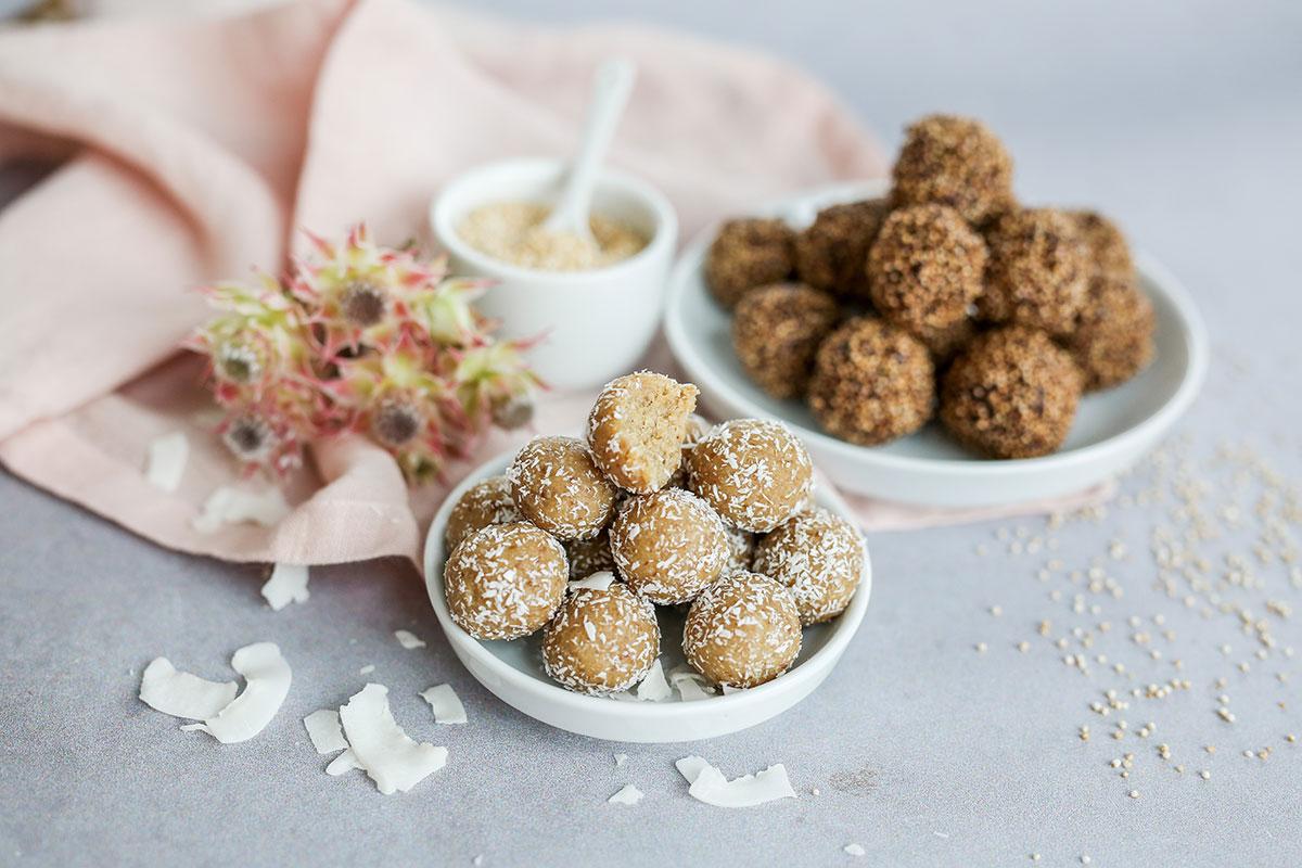 Cookiedough-Kokos-Bites & Schoko-Amaranth-Balls